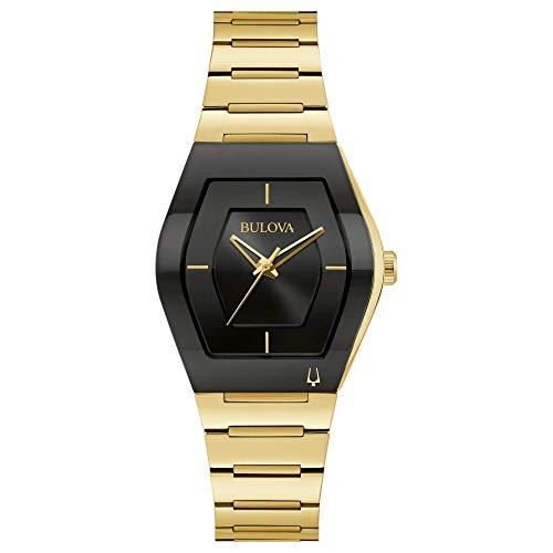 Relógio masculino Bulova pequeno Gemini Futuro dourado pulseira de aço inoxidável 97L164