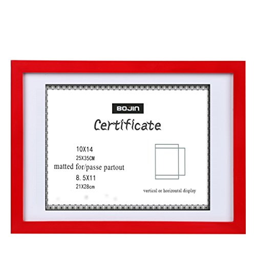 BOJIN 10x14 Picture Frames Red Made to Display 8.5x11 Picture Frame Mat Document with Wooden Photo Frame Diploma and Certificate Frame for Wall Hanging Home Decoration