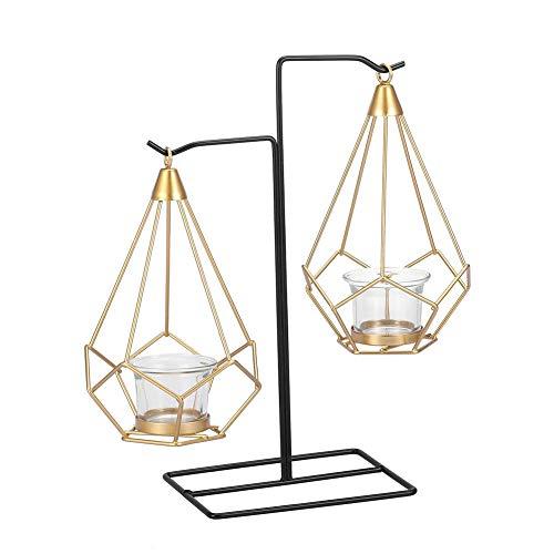 Jadeshay Vintage kooi metalen lampenkap, Scandinavische stijl geometrische metalen hangende kandelaar voor decoratie thuis, bruiloft
