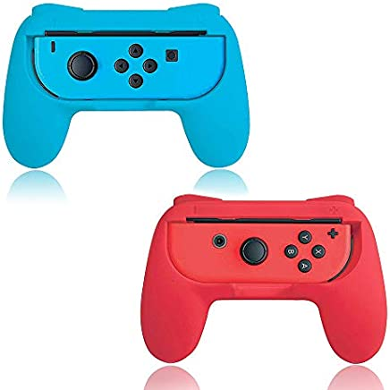 Grips for Nintendo Switch Joy-Con,ATINUS Upgraded Controllers for Nintendo Switch Joy Con 2 Packs (Blue,Red)