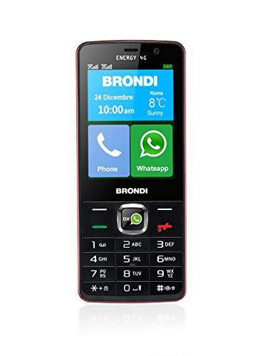 Brondi Energy 4G - Telefono cellulare con scocca monoblocco Dual-SIM, Maxi display HD a colori da 3 , Nero