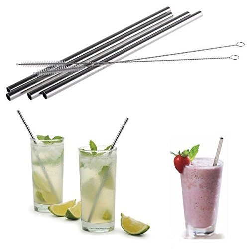 Stainless Steel Straws, Straight, Metal Drinking straws,set of 4, 10.5'',Cleaning Brush Included
