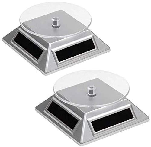 2 Solar Drehteller Drehscheibe für Vitrine | Leistungsstark | Präsentation Teller - Drehbühne für Uhren, Schmuck, Handy