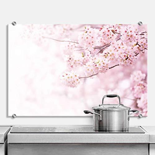 Spatscherm Keuken - Kersenbloesem - Hittebestendig Glazen Spatwand inclusief Luxe Wandklemmen - 60x40 cm (bxh)
