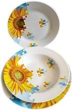 Accessori Servizio Piatti piani in ceramica 18Pz. Tondo puzzle Girasole