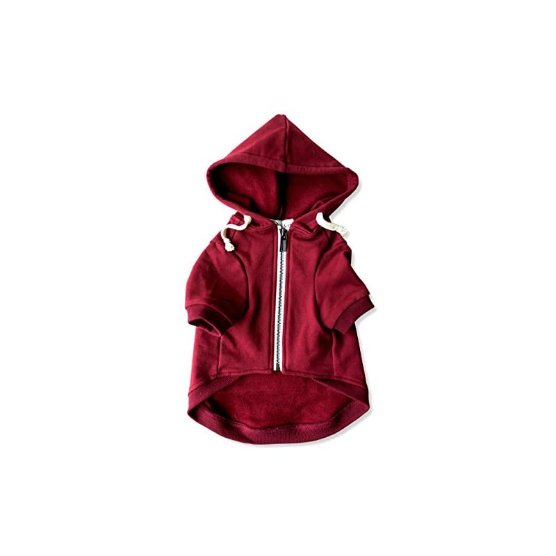 dog supplies online adventure zip up maroon red dog hoodie with hook & loop pockets and adjustable drawstring hood - available in extra small to extra large. comfortable & versatile dog hoodies by ellie (m)