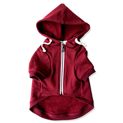 Adventure Zip Up Maroon Red Dog Hoodie with Hook & Loop Pockets and Adjustable Drawstring Hood - Available in Extra Small to Extra Large. Comfortable & Versatile Dog Hoodies by Ellie (L)