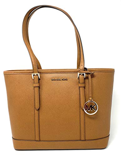 Michael Kors Womens Jet Set Travel Small Top Zip Shoulder Tote Leather (Luggage)