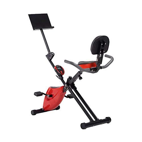 Opvouwbare hometrainer Verstelbaar Stationair Opvouwbaar Magnetisch rechtop fietsen met LCD-monitor, 8 weerstandsniveaus, mobiele telefoonhouder,Red