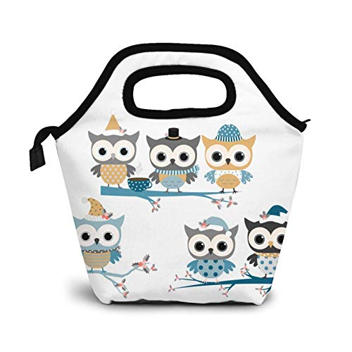Reusable Lunch Bag,Cute Owl Standing On The Tree Lunch Bag Picnic Office Outdoor Thermal Carrying Gourmet Lunchbox Cartoon Animal Lunch Tote Container Tote Cooler Warm Pouch for Men,Women