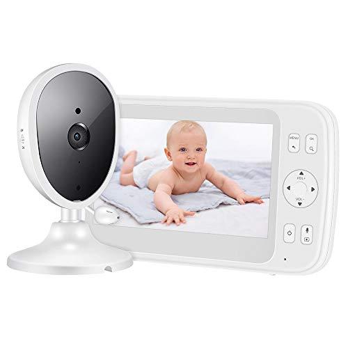 Frontoppy Babyphone mit Kamera, 5 Zoll Video Baby Monitor mit zwei Wege Audio, Auto Nachtsicht, 1000FT Reichweite, Temperaturerfassung, Vorschub Timer, Energiesparen/VOX, Hineinzoomen