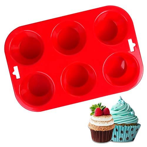 FENRIR Mini molde de silicona para 6 magdalenas, no se pega, uso seguro en lavavajillas y microondas