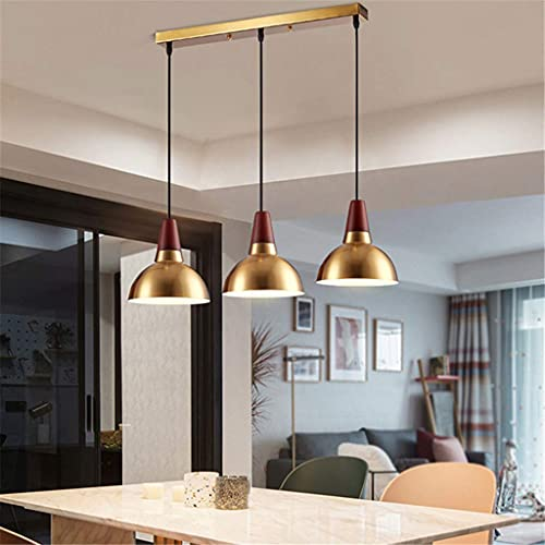 HTZ-M Lámpara Colgante de Metal Moderno Hierro Madera Iluminación Decorativa Interior Lámpara Colgante para Restaurante Café Bar Comedor 3 * E27 Dorado