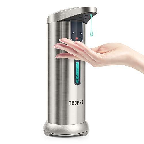 TROPRO Seifenspender Automatisch, Elektrischer Infrarot Sensor No-Touch Seifenspende Set Klein Fenster für Badezimmer Küchenspüle Geschirr Waschen Dusche