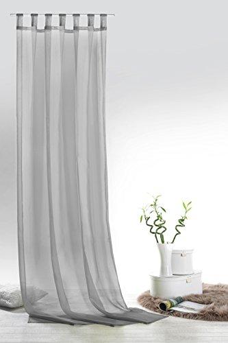 Fashion&Joy - 1 Paar Schlaufenschals Voile einfarbig grau transparent Vorhänge Typ418