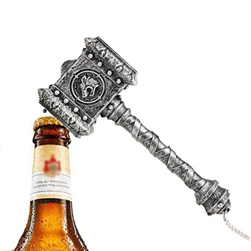 Doomhammer Bier Flaschenöffner mit Sound,Quake Thor Hammer Bier und Getränk Flaschenöffner, Perfekt für Bar und Haushalt,WOW-Spiel Fans Geschenk,Loc'tar.Ogar,für die Horde (Silber)