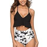 DURINM Conjunto de Bikini Sexy Mujer de Cintura Alta Traje de Baño de Dos Piezas Volantes Correas de Espagueti Bañador Plisado Estampado Rayas Ropa de Playa