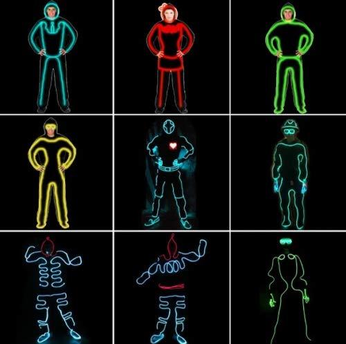 EL Wire Neon RGB-Farblichter Led Stick Figure Kit (Eisblau)