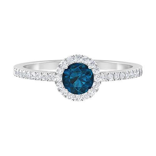 Solitärring 0,83 ct runder Edelstein HI-SI Diamant 5 mm London Blautopas Seite Stein Ring Halo Gold Ring Versprechen Ring Valentinstag Geschenk für Sie, 14K Weißes Gold, Size:EU 44