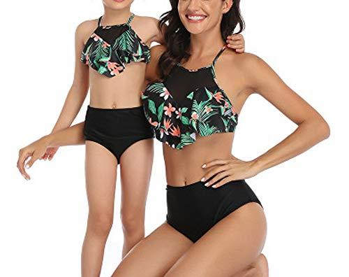 Damen Split Badeanzug + Kinder Badeanzug Bikini Anzug Hohe Taille Rückenfrei Kaufen Big send Mädchen Eltern-Kind-Badeanzug Spa Schwimmen Urlaub Strand L C