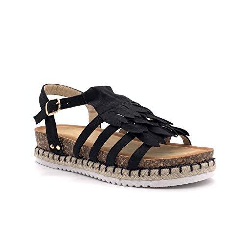 Angkorly - Damen Schuhe Sandalen - Römersandalen - Bequeme - Offen - Fransen - mit Stroh - Kork Keilabsatz high Heel 4 cm - Schwarz FD-43 T 39