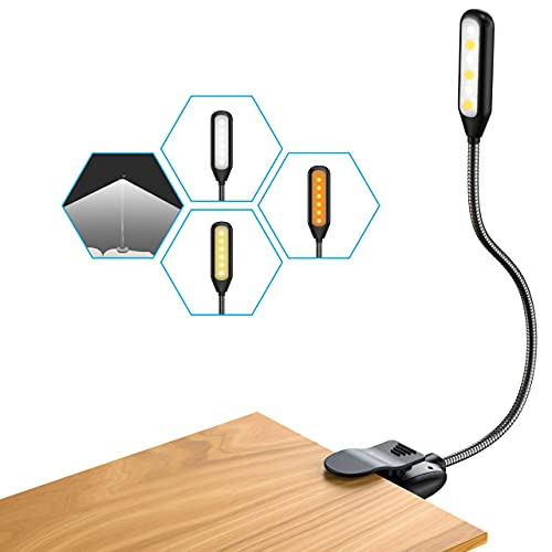 7 LEDs Lampada da Lettura, APMIEK USB Ricaricabile Lampada Libro con 3 Modalità (Ambra, Luce diurna, Bianco), Luce Lettura Portatile con Clip, Ideale per E-Reader, Studio, Letto, Viaggi, Tablet