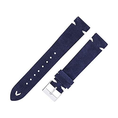 SSXPNJALQ Stede Watch Bands Correas A Mano A Mano Fit for Hombres Mujeres 18mm 20mm Cuero Reloj Correa Suede Brown 7 Colores Reloj Reloj Reloj Pulsera (Band Color : Indigo, Band Width : 20mm)