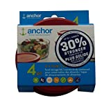 Anchor Hocking Improved 30% Stronger Replacement Lid 1 Cup / 236 ml / 0.25 qt, Set of 4 lids, Red Round