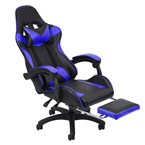 LINGDANG Gaming Chair with Footrest Adjustable High Backrest Reclining Home Office PU Leather Chair with Wider Seat, 360 Degree Free Rotation Pulley, Ergonomic Computer Gamer Chair (Blue)