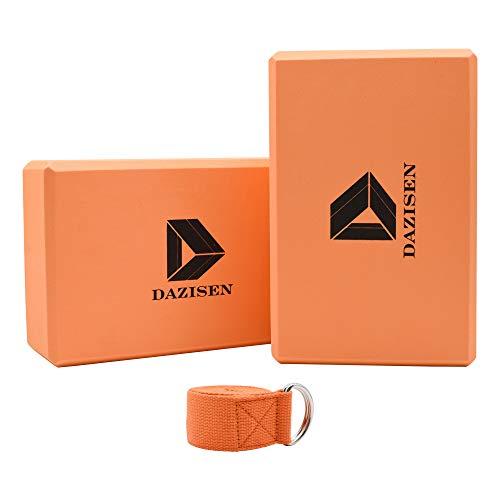 DAZISEN Yoga Block Set - Yoga Blöcke 2er und Yogagurt Fitness Dehnen Gtymnastikband Pilates Trainingsbänder, Orange, A 2 Blöcke + 1 Band