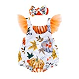 Qisc 2Pcs Cute Infant Newborn Baby Girl Pumpkin Bodysuit Pompom Sleeve Romper with Headband Outfit Clothes