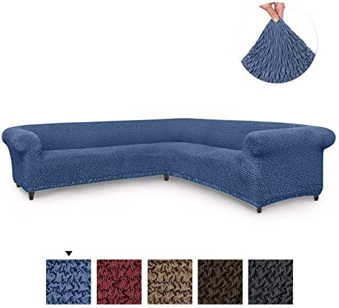 Best Sectional Sofa Cover - Corner Couch Cover - Corner Slipcover - Cotton Fabric Slipcovers - 1-piece Fo