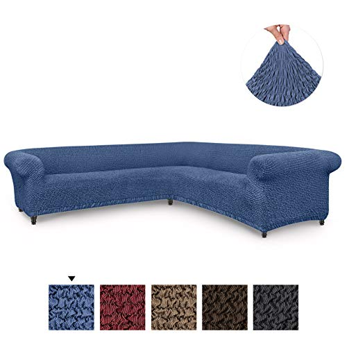 Sectional Sofa Cover - Corner Couch Cover - Corner Slipcover - Cotton Fabric Slipcovers - 1-piece Form Fit Stretch Furniture Slipcover - Mille Righe Collection - Blue (Corner Sofa)