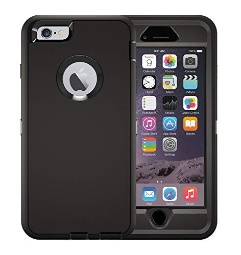 iPhone 6s Defender Case (Case Only) MAET Heavy Duty Built-in Screen Protector Rugged Rubber Case Compatible iPhone 6&iPhone 6s - Bulk Packaging - Black