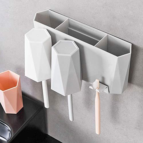 歯ブラシスタンド コップ3個付き 歯ブラシホルダー 壁掛け 家族用 洗面所 収納(ピンク ホワイト グレー)