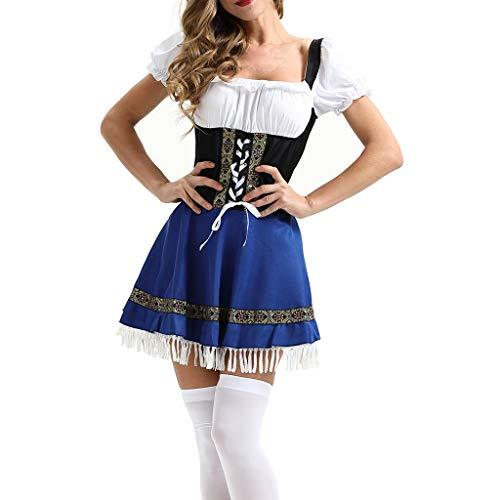 VANMO Trachten Damen Kostüm,Trachtenmode Online 2020 Neu Frauen Vintage Beer Festival Bayerische Kurzarm Kellnerin Cosplay Kostüm Kleid Fröhlichen Karneval zusammenGute Qualität