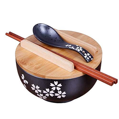 Keramische Bowl Bowls Vaatwerk Japanse Keramische Bowl, 6,5 Inch Zwart met Deksel Servies Retro Soep Bowl Instant Noodle Bowl Rijstkom Keramische Grote Capaciteit Ramen Bowl voor Keuken Restaurant Geschenken