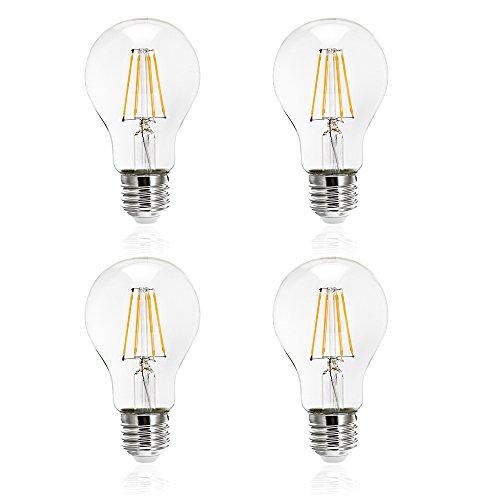 Tengyuan LED電球 40W形相当 E26口金 フィラメント電球 4W 電球色 450lm クリアタイプ エジソン レトロ電球 A60 照明 360度発光 雰囲気重視 【4個入り】