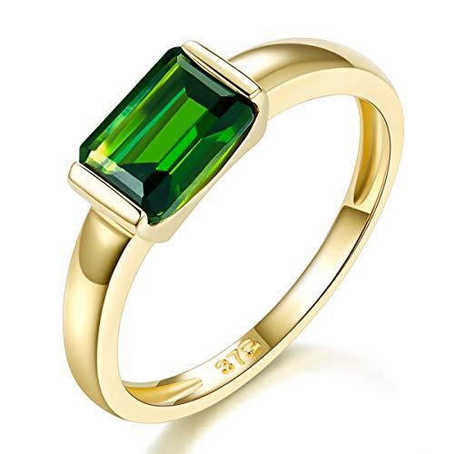 Hutang Jewelry  -    9 Karat (375) Gelbgold Oktagonschliff   grün Chrome Diopside