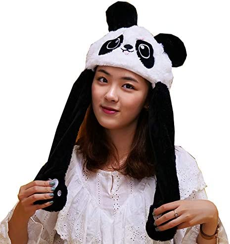 Panda Hat Ear Moving Jumping Hat Pop Up Ears Plush Hat Cap Headband for Women Girls product image