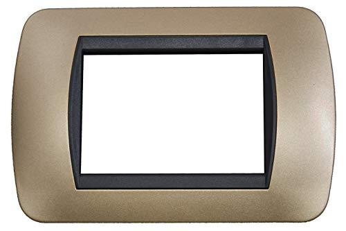 BES 22570 Placchetta Bronzo, Compatibile Living, 3 Posti Copri Interruttore