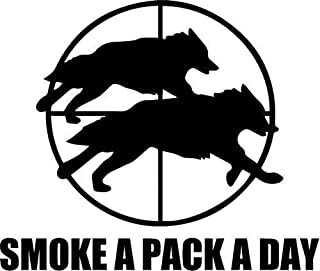 Decal Flags USA Wolves Hunting Smoke A Pack A Day - Sticker Graphic - Auto, Wall, Laptop, Cell, Truck Sticker for Windows, Cars, Trucks (White)