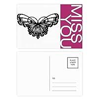 フリルの翼を持つ蝶 ポストカードセットサンクスカード郵送側20個ミス