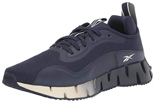 Reebok Men's Zig DYNAMICA Running Shoe, Alabaster/Chalk/Vector Navy, 10.5
