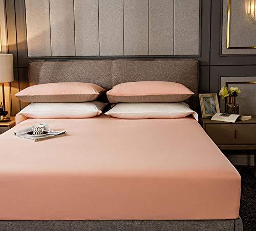 HPPSLT Protector de colchón, algodón, poliéster, Sábana de Cama de Color Puro de una Sola Pieza de algodón-Rosa_180cm × 220cm