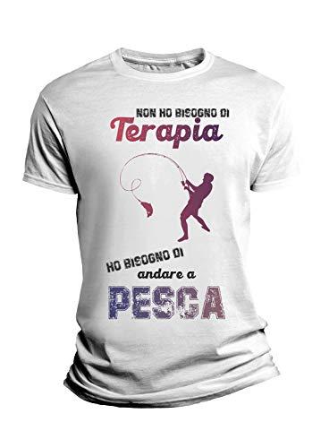 Camiseta divertida deportiva Non Ho Bisogno di Terapia, Ho Bisogno di Ir a Pesca - Fishing - Idea regalo divertido Bianco Uomo XL