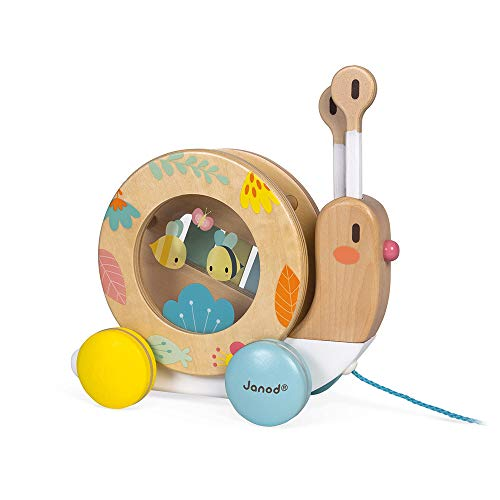 Janod Pure Pull Along Snail - Wooden 2-in1 Musical Instrument and Push and Pull – Classic Early Learning Toy – Encourages Babies and Toddlers to Walk – Develops Fine Motor Skills - Ages 1+ Years