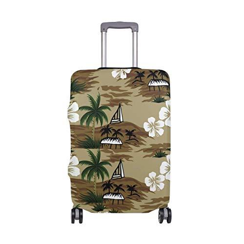 Maleta de Viaje con Estampado Floral para viajeros con Estampado Floral en la Palma de Coco Retro Maleta con Equipaje de 24 Pulgadas