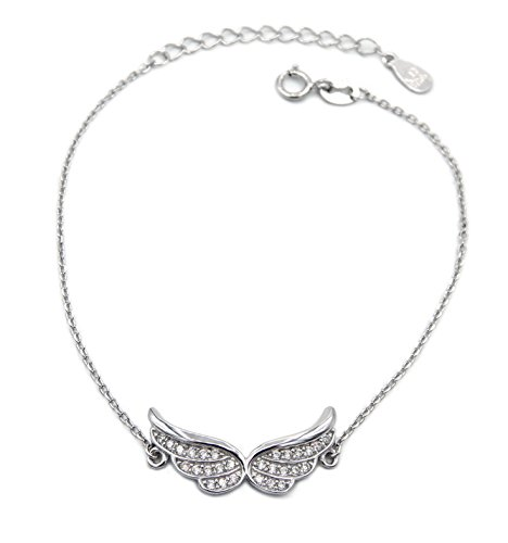 Armband Flügel 925 Sterling Silber rhodiniert 28 Zirkonia 19cm lang Silberkette Silberarmband Armkette Armkettchen Engelsflügel Damen