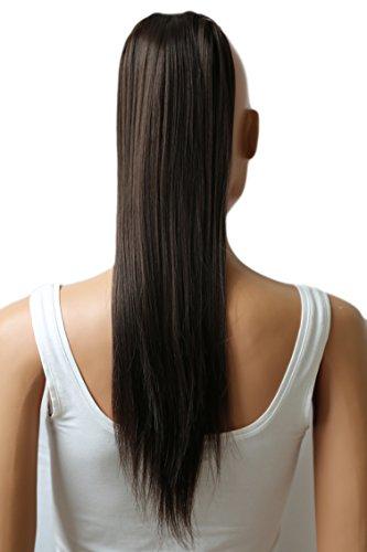 PRETTYSHOP 60cm Haarteil Zopf Pferdeschwanz Haarverlängerung Glatt Dunkelbraun HC3a